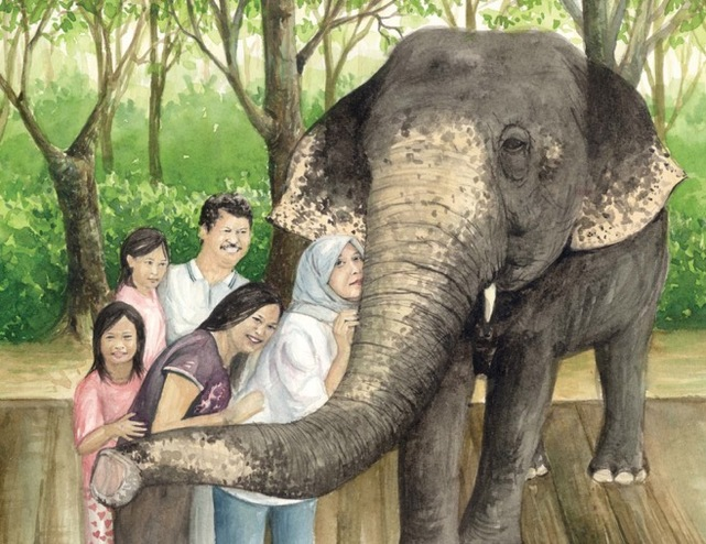 Siti The Elephant, children's picture book by Rossiti Aishah Rashidi, illustrated by Farrah Ashiela Samsuri