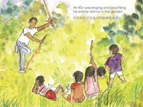Singing and practising warrior dance - Fun At the Opera, children's book by Susanna Goho-Quek, published by Oyez!Books