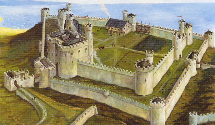 the model of Aberystwyth castle as it was in the 13th century