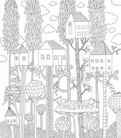Treehouse Colourart - adult colouring books by Emila Yusof