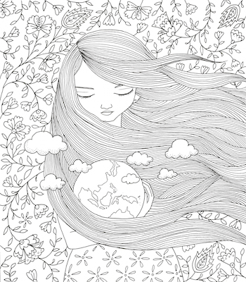 Mother Earth Colourart - adult colouring books by Emila Yusof