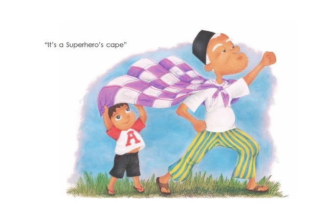 A superher's cape - Atuk's Amazing Sarong - children's picture book by Lim Lay Har, illustrations by Lim Lay Koon, published by Oyez!Books