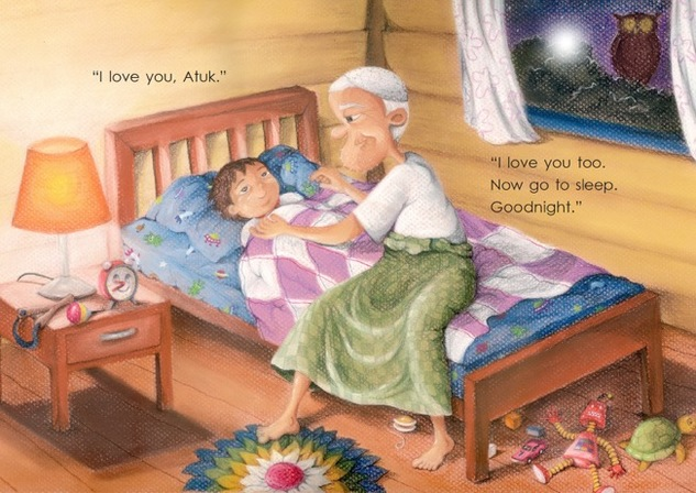 Saying goodnight - Atuk's Amazing Sarong - children's picture book by Lim Lay Har, illustrations by Lim Lay Koon, published by Oyez!Books