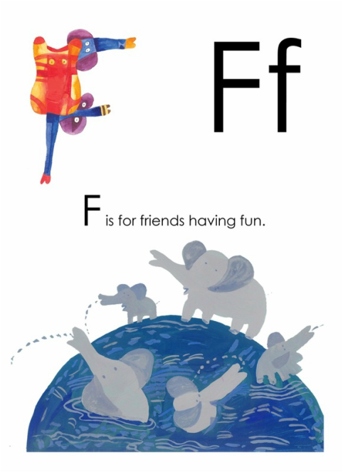 F is for Friends having Fun - Yusof Gajah's ABC, an alphabet book illustrated by Yusof Gajah, published by Oyez!Books