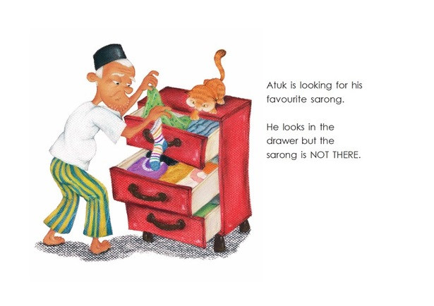 Atuk looking for his sarong - Atuk's Amazing Sarong - children's picture book by Lim Lay Har, illustrations by Lim Lay Koon, published by Oyez!Books