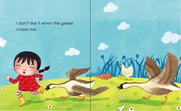 Chased by geese - My Father's Farm by Emila Yusof, third children's picture book in the Dina series published by Oyez!Books
