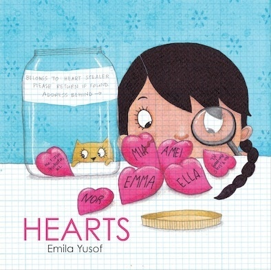 Hearts wordless picture book by Emila Yusof, published by Oyez!Books