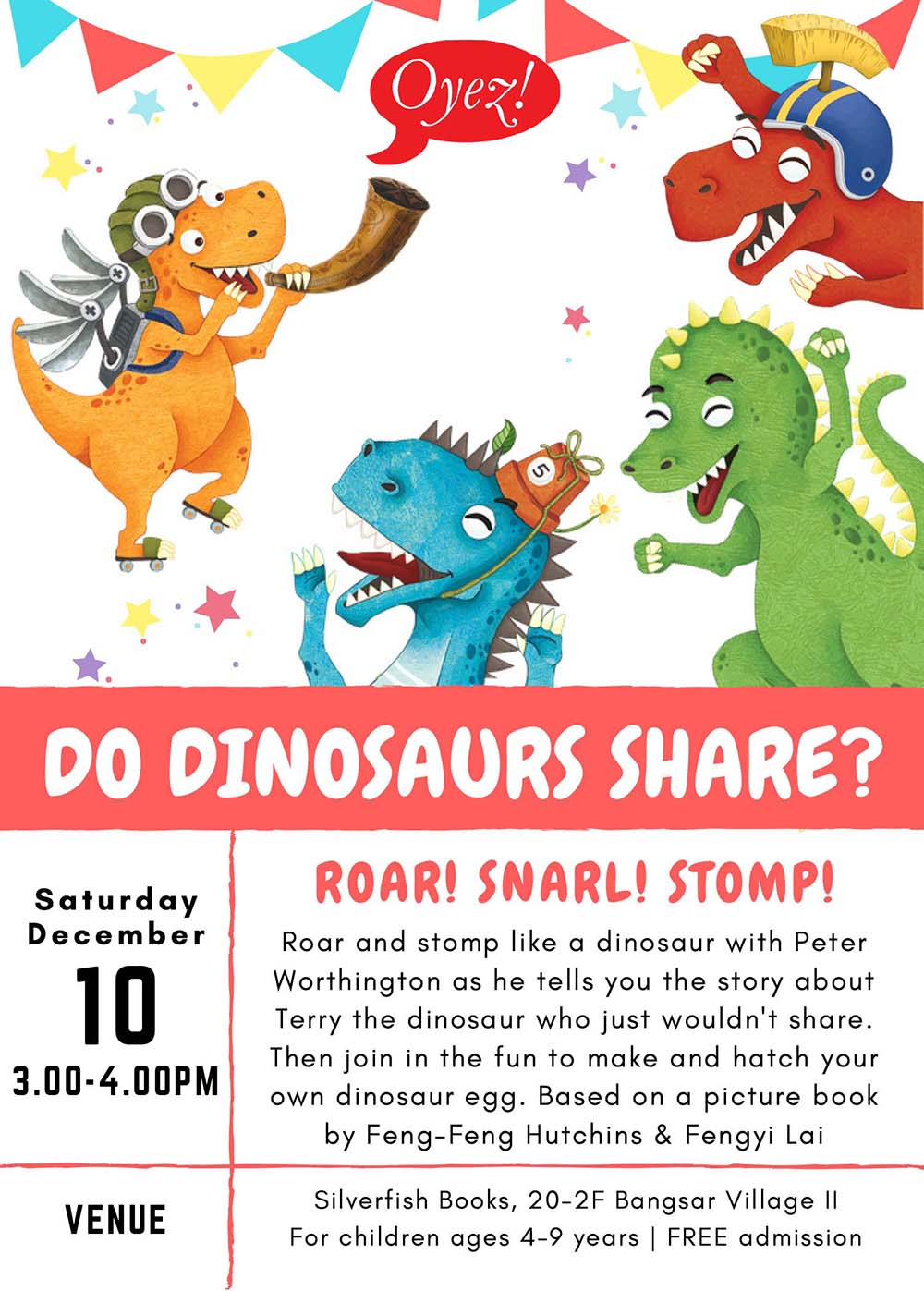 Do Dinosaurs Share? - storytime based on children's picture book by Feng-Feng Hutchins, illustrated by Fengyi Lai