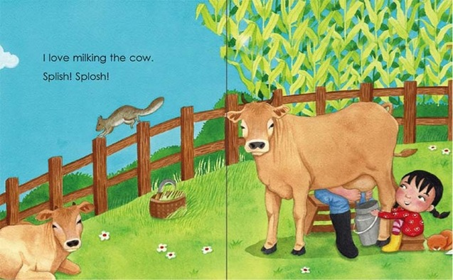 Milking a cow - My Father's Farm by Emila Yusof, third children's picture book in the Dina series published by Oyez!Books