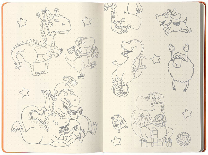Dinosaur Sketches by Fengyi Lai, illustrator of Do Dinosaur's Share? - children's picture book by Feng Feng Hutchins
