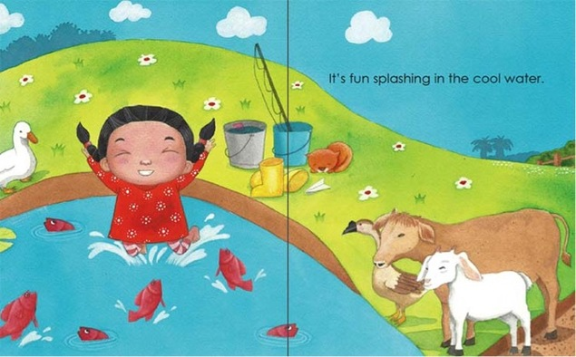 Jumping into the pond -My Father's Farm by Emila Yusof, third children's picture book in the Dina series published by Oyez!Books